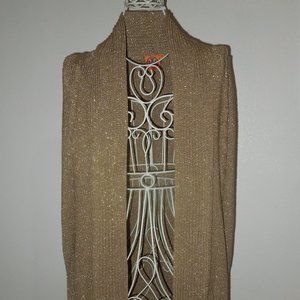 Tory Burch Gold Metallic Knitted Cardigan XXS